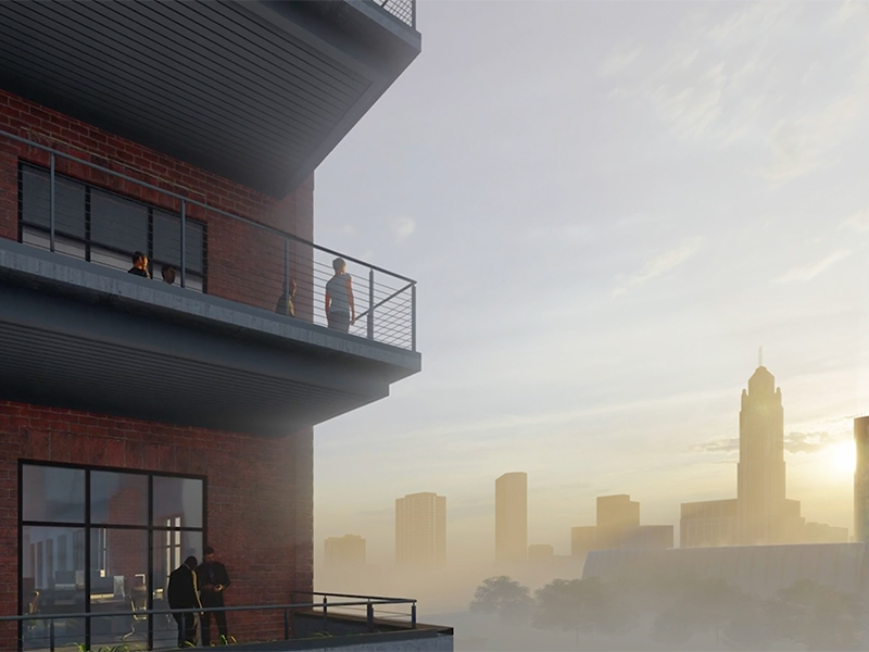 Rendering of the balconies on the exterior of The Peninsula Office building.
