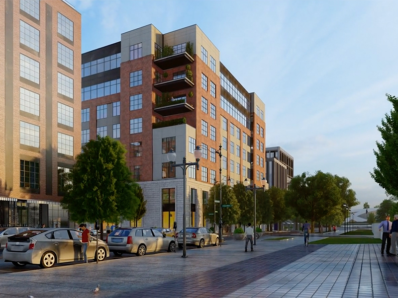 Rendering of the street-level view of The Peninsula Office building, surrounding buildings and people in view.